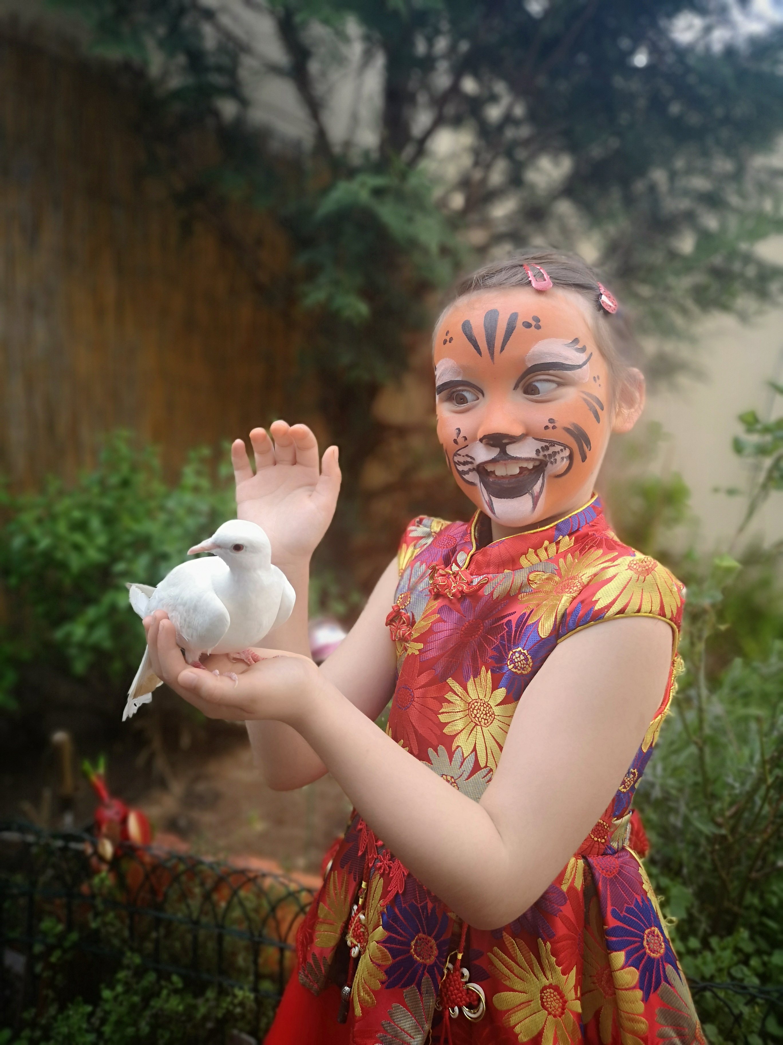maquillage fille tigre colombe dans les mains